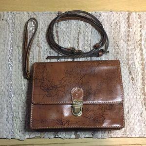 Patricia Nash leather map crossbody handbag Lanza